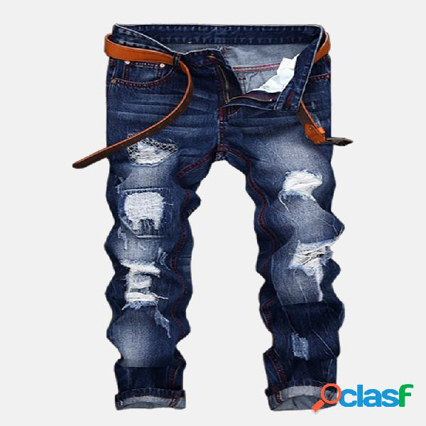 Fashion coolest vendimia holes piernas rectas stone washed jeans para hombres