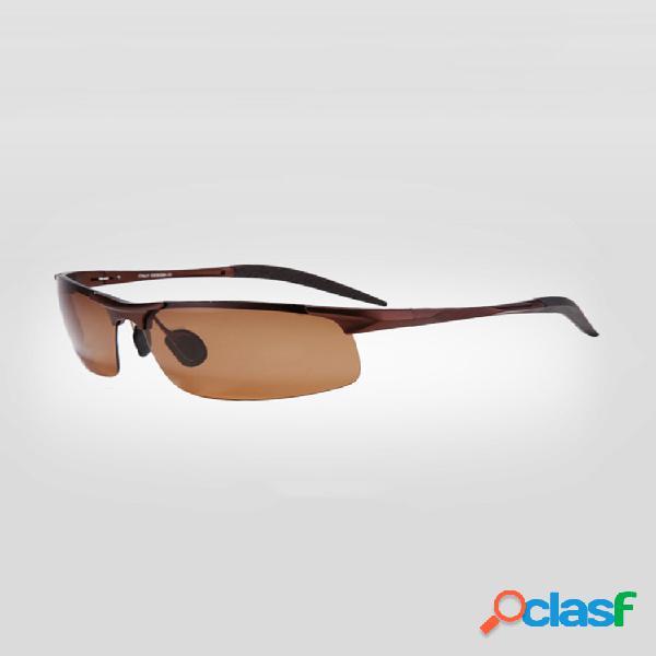 Gafas de sol polarizadas de visión nocturna para hombre marco de aleación al aire libre gafas de conducción deportiva