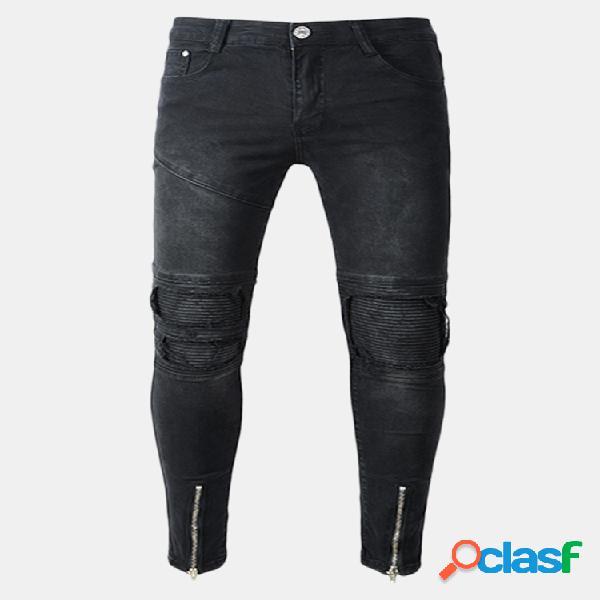 Black biker fold holes zipper delgado ripped jeans para hombres