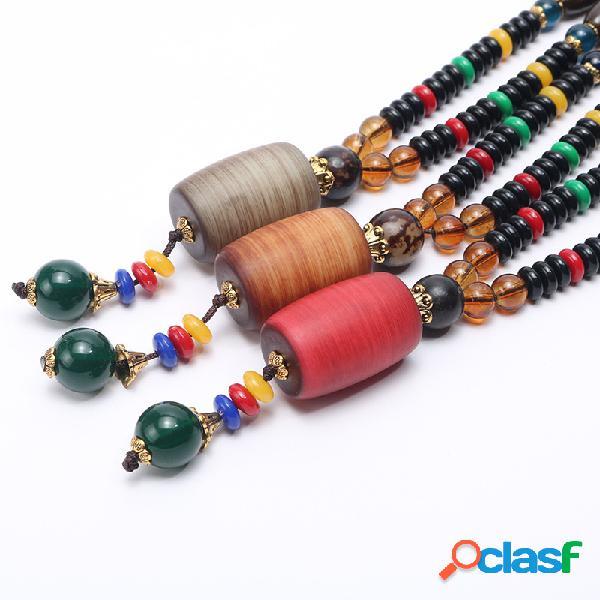 Collar largo étnico unisex vestido de la vendimia cilindro wenge bodhi colgante collar de cuentas de madera con cuentas