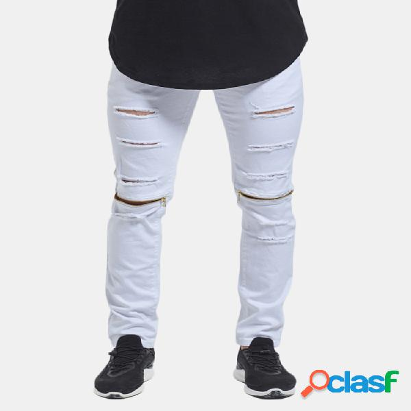 Skinny hip hop ripped holes knee zipper jeans para hombres