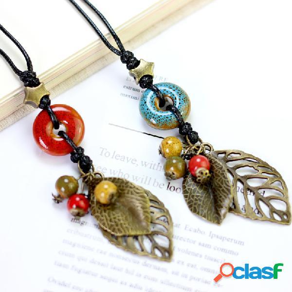 Vendimia colgante collar hecho a mano con cuentas de hojas encanto collar joyería étnica para mujer