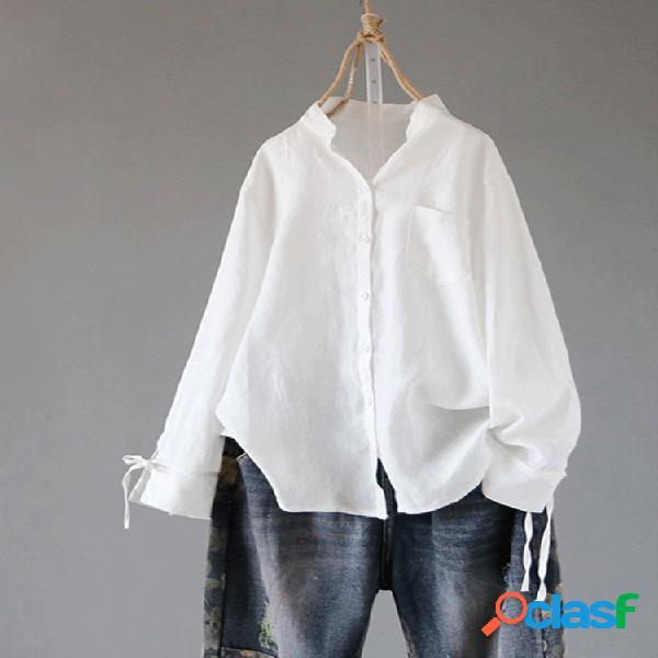 Nudo de manga larga con cuello alto de color liso plus talla camisa