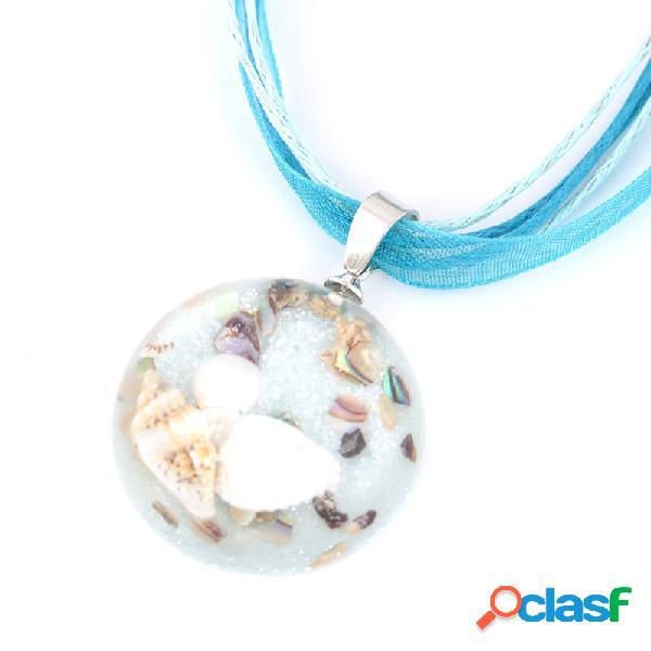 Bohemian ocean romance shell pearl inside hemisphere colgante clavícula collares para mujeres