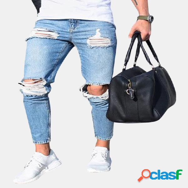 Ripped stylish low waist skinny washed blue jeans para hombres