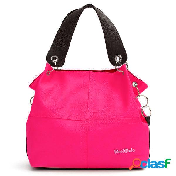 Mujer candy color elegante casual crossbody bolsa hombro de compras de gran capacidad bolsa