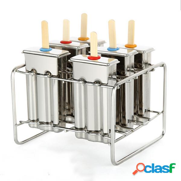 6 celda congelado helado pop molde de popsicle fabricante lolly molde bandeja bandeja de cocina diy