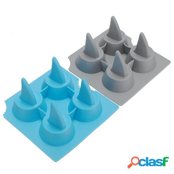 Bandeja de hielo de silicona con forma de aleta de tiburón cube molde de molde de chocolate para congelador