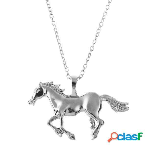 Colgante de caballo de plata de oro de moda colgante de collar de mujer suéter de cadena de joyería para las mujeres
