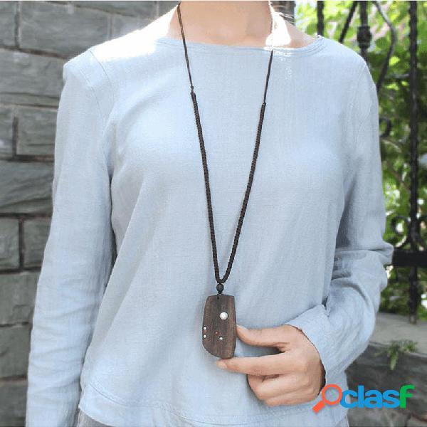 Collar étnico hecho a mano de madera geométrica colgante collar de cadena de suéter largo retro