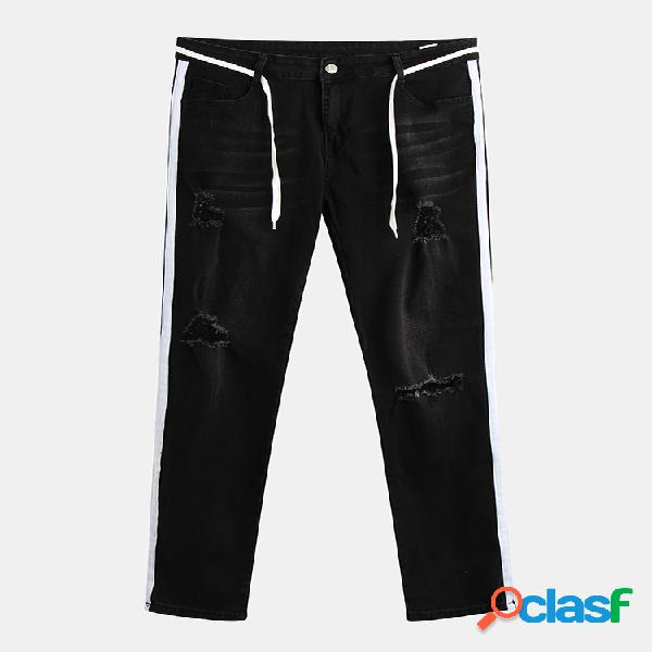 Mens ripped delgado out pencil male hip hop destroy stretch denim jeans