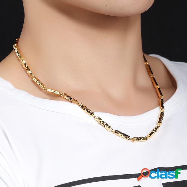 Collar de bambú electrochapado de moda para hombres diamante geométrico colgante collar joyería elegante