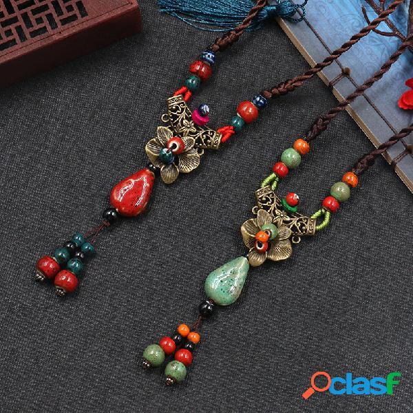 Flor de rosa estereoscópica tallada geométrica étnica colgante collar largo suéter cadena vendimia joyería