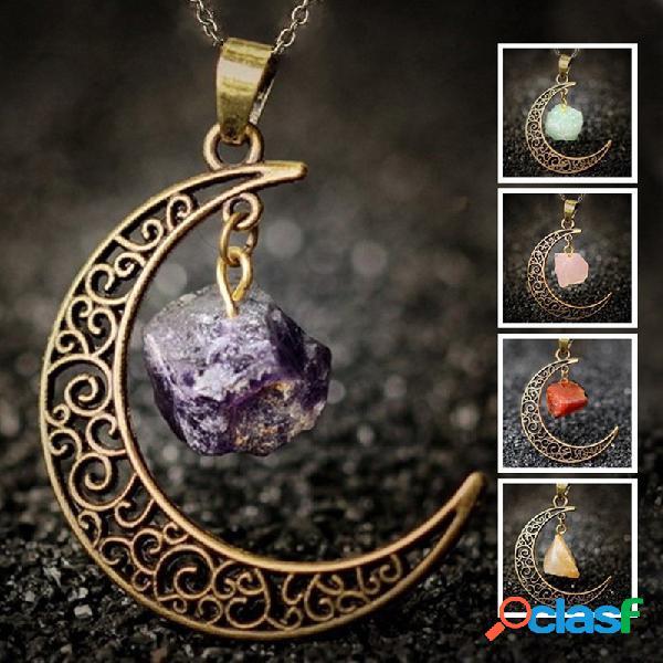 Vendimia collar de cristal de piedra natural de metal luna hueca geométrica colgante collar cadena de suéter