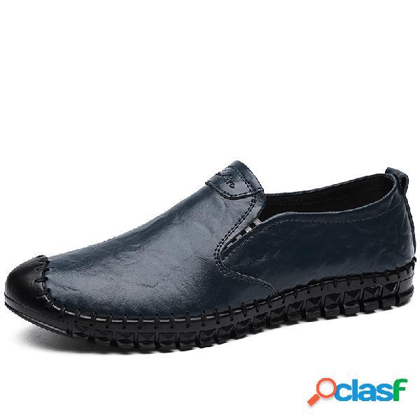 Hombre cosido a mano cuero antideslizante soft suela cómoda zapatillas de conducción