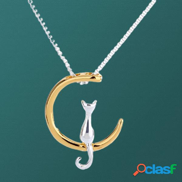 Trendy cute moon gato collar geometric animal colgante collar cadena de clavícula