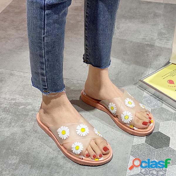 Mujer daisy patrón transparente cruz banda comfy soft suela zapatillas