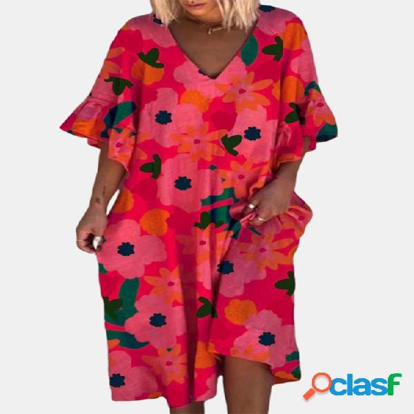 Contraste color estampado floral media manga suelta vestido para mujer