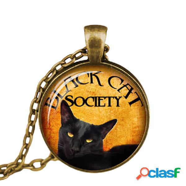 Vendimia metal cristal lindo gato collar geométrico redondo animal impreso gema colgante collar
