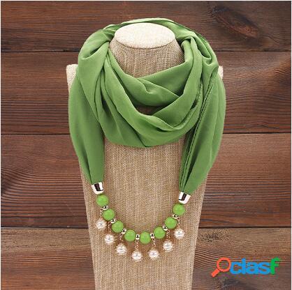 Collar de bufanda con protección solar étnica borla de perlas colgante collar de gasa de varias capas