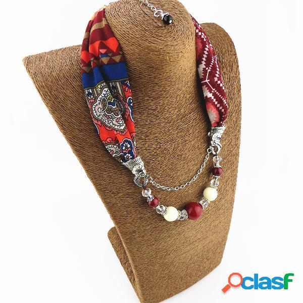 Vendimia collar de bufanda de gasa estampado borla con cuentas a mano colgante collar de múltiples capas