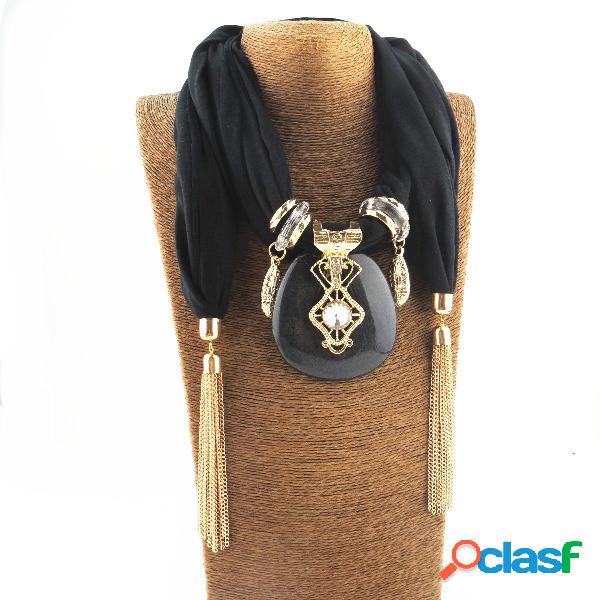 Collar de múltiples capas de gasa impresa bohemia borla de cuentas hecha a mano colgante collar de chal de bufanda para mujer