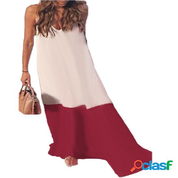 Bohemia patchwork straps con cuello en v plus talla vestido para mujer