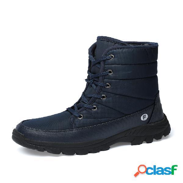 Hombre al aire libre suela antideslizante impermeable cálido con cordones de caña alta para nieve botas