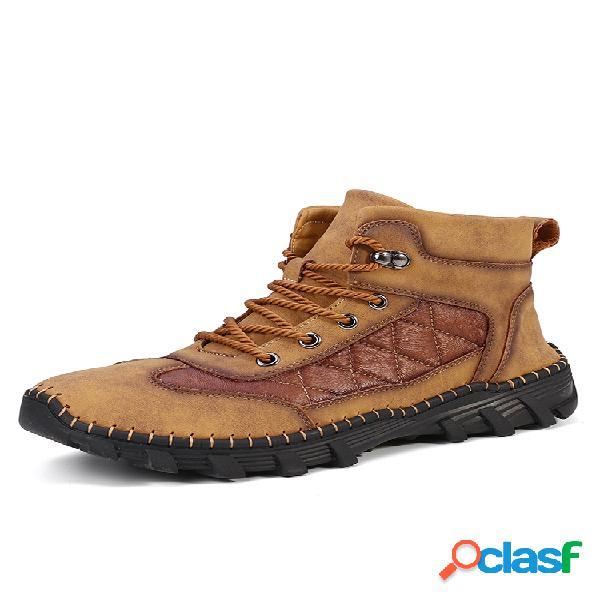 Hombre comfy microfiber leather antideslizante soft tobillo botas