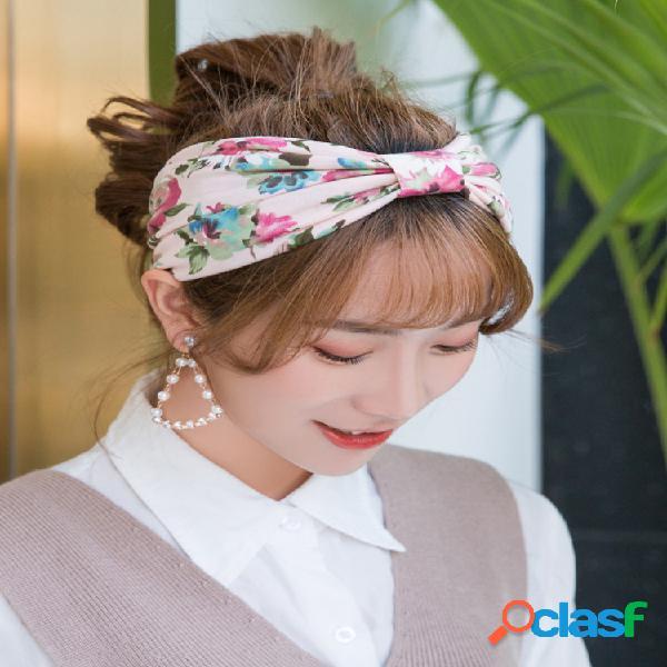 Country style print elastic cabello banda diadema de seda y gasa al aire libre cabello accesorios