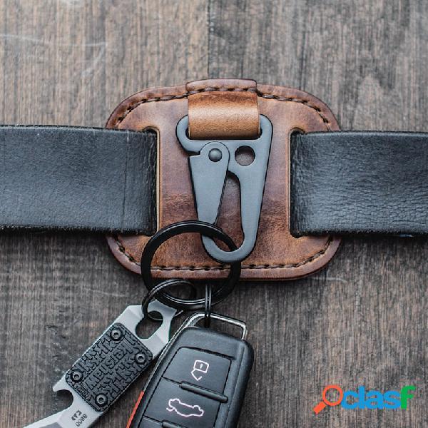 Hombres piel genuina llave fácil de llevar caso bolsa keypster