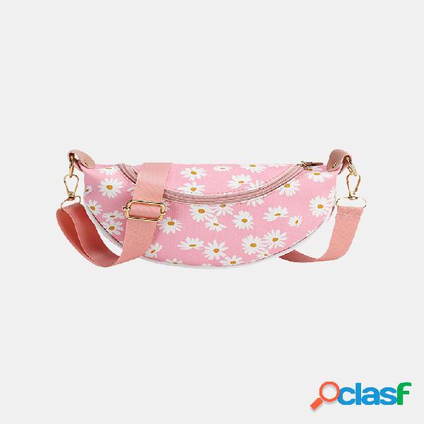 Mujer daisy print crossbody bolsa cinturón bolsa bolso de mano