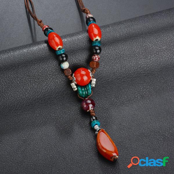 Bohemio colorful collar de cuentas estilo largo collar de borlas con cuentas para mujer
