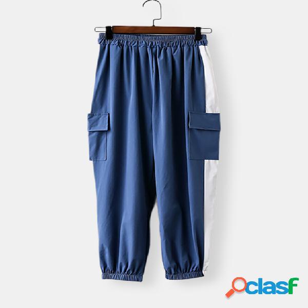Costura de viento casual para mujer harén suelto pantalones