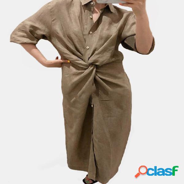 Nudo de botón de manga larga de color liso liso camisa largo vestido