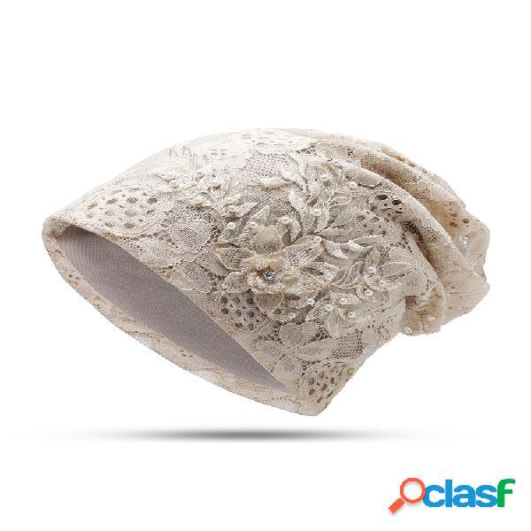 Mujer algodón poliéster perla de imitación flor decorativa patrón gorro transpirable