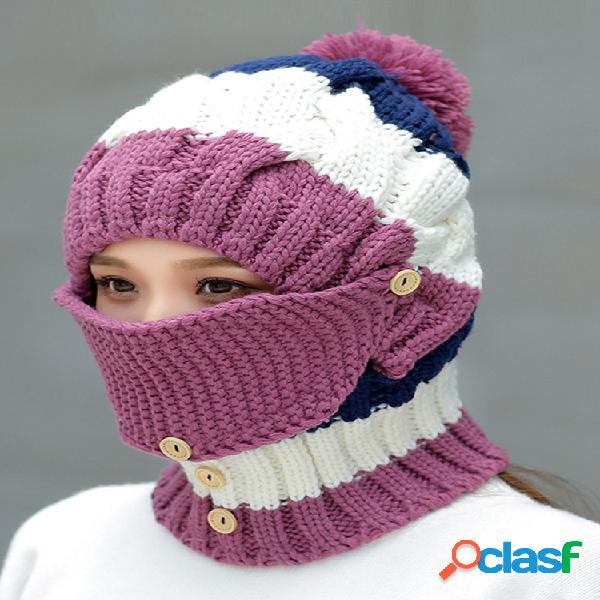 Máscaras cálidas de invierno para mujer de punto sombrero conjunto de bufanda con cuello al aire libre ciclismo a prueba de viento plus capucha sombrero