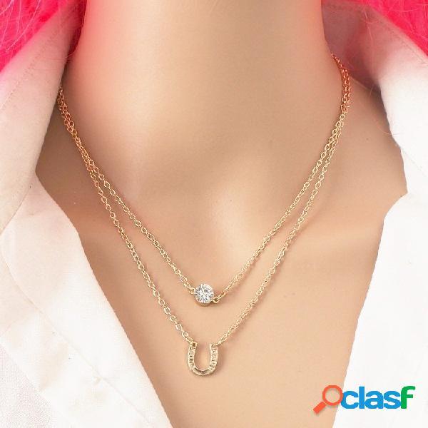 Moda collar de múltiples capas rhinestone en forma de u colgante collar de cadena dulce joyería para mujeres