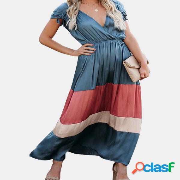 Contraste color patchwork sin mangas casual maxi vestido para mujer
