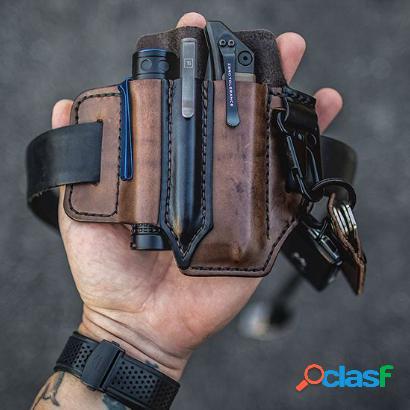 Hombre edc piel genuina llave de linterna multiherramienta pluma organizador cintura de engranajes cinturón bolsa
