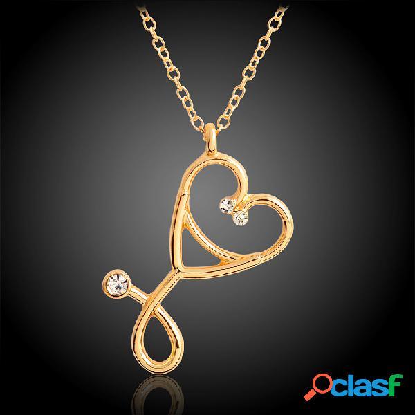 Estetoscopio creativo de moda colgante collar de aleación de zinc cadena rhinestone mount mujer jewelry