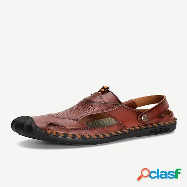 Hombre al aire libre puntera de goma cuero cosido a mano sandalias