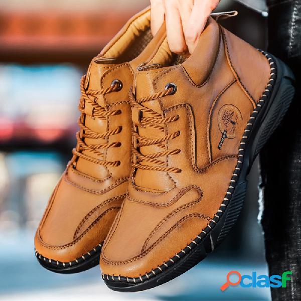 Hombre vendimia tobillo de cuero de microfibra cosido a mano botas