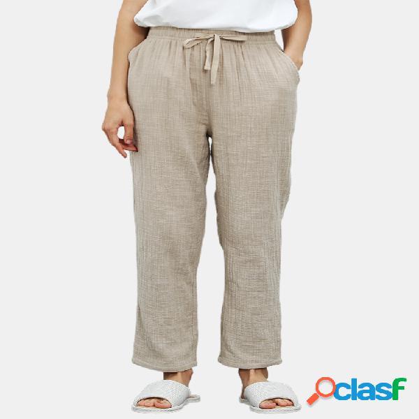 Mujer algodón lino color sólido delgado cómodo cordón para el hogar pantalones