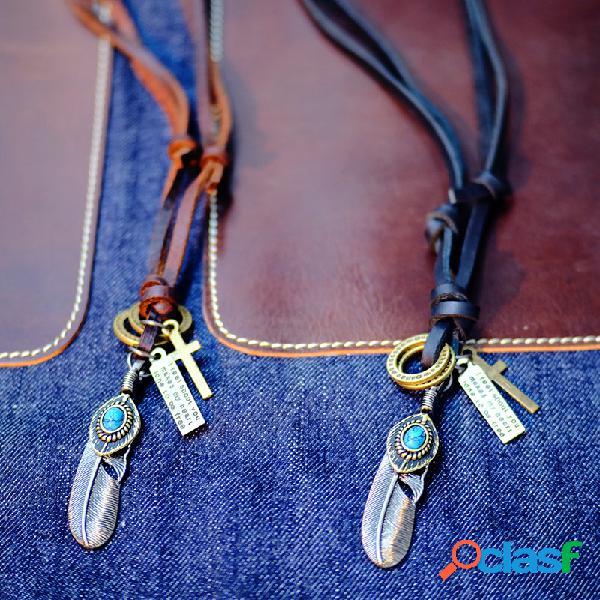 Unisex vendimia colgante collar aleación pluma cruz círculo ajustable hombres mujer collar de piel de vaca