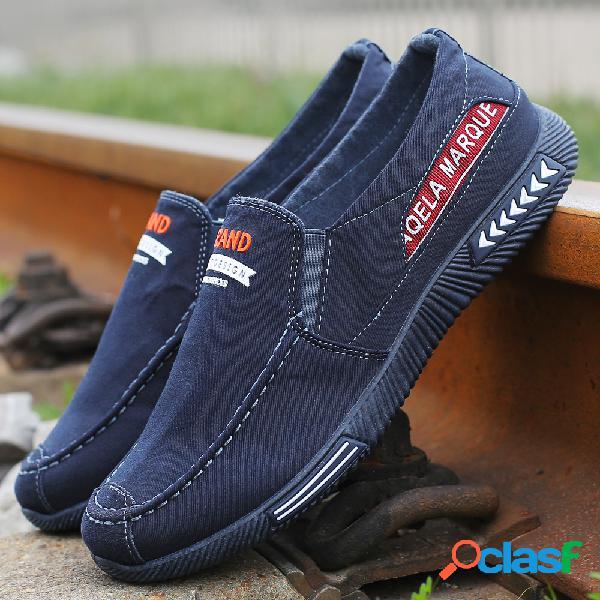 Hombres de lona lavada low top cómodo soft slip on casual shoes
