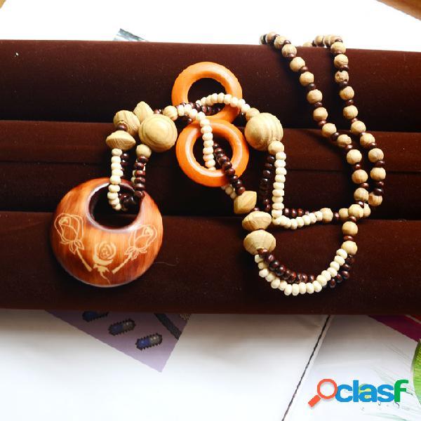 Bohemian hollow round colgante collar de cuentas cadena de suéter de madera natural joyería étnica