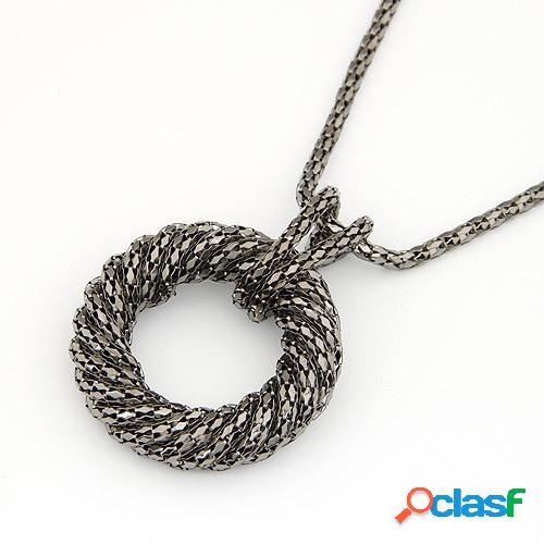 De moda colgante collar largo de metal anillo de círculo grande colgante cadena de suéter vendimia joyería