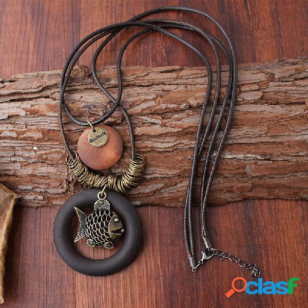 Madera geométrica étnica colgante collares vendimia pez cera de dos capas cuerda collares para mujer