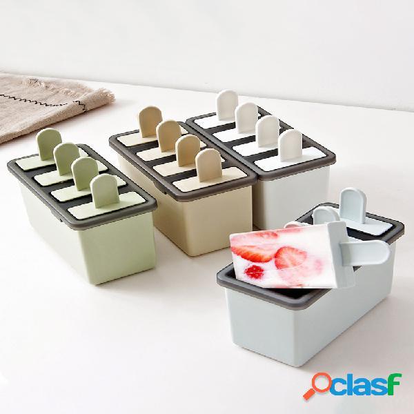 Molde para helado de paleta molde de hielo simple hecho en casa bandeja de hielo de 4 rejillas